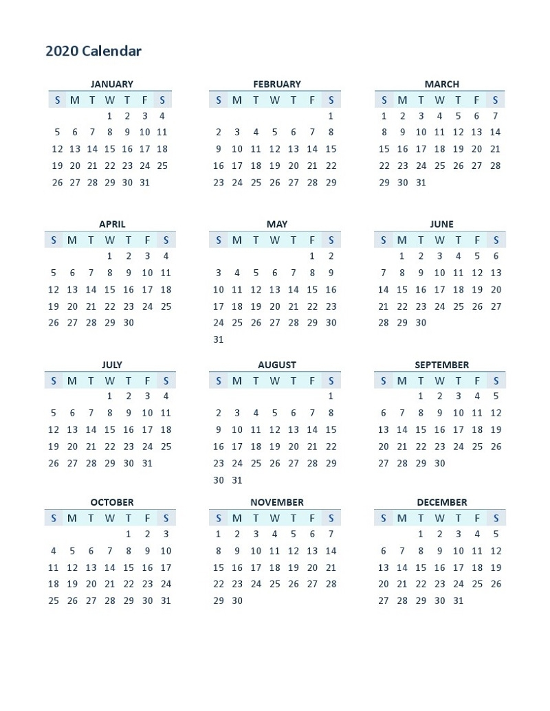 2020 Yearly Calendar Printable Full Usage