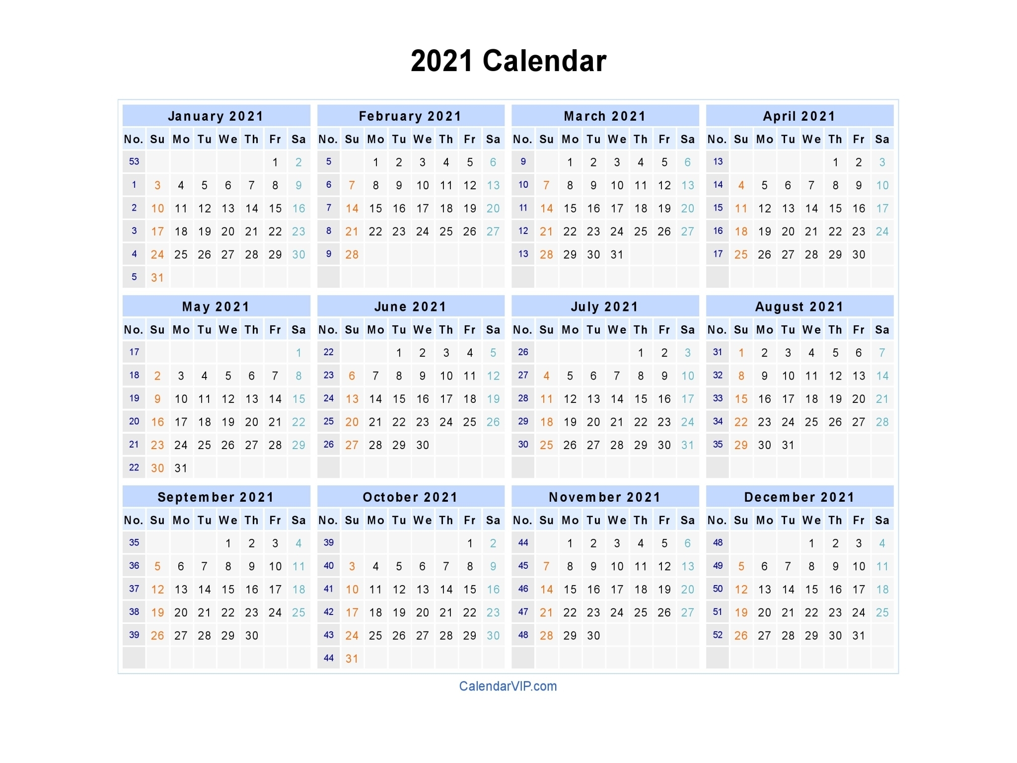 2021 Calendar With Week Numbers Excel Full