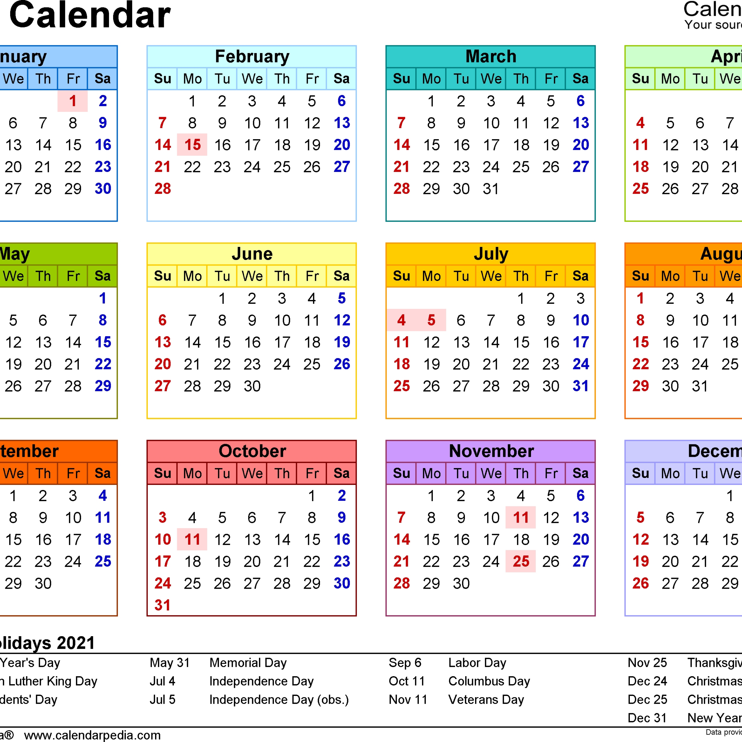 Printable Pdf Calendar 2021 Usa For Scheduling Work