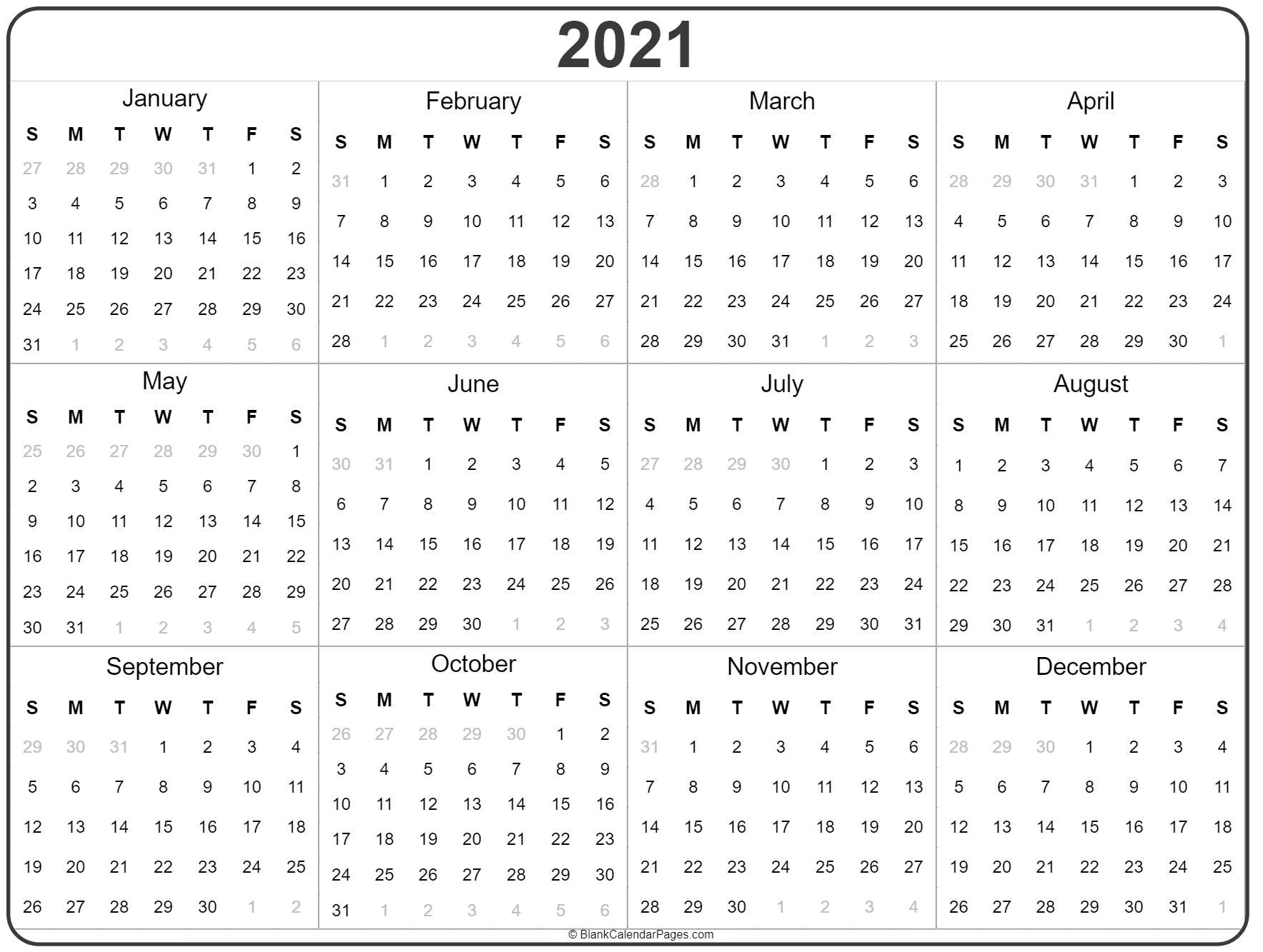 2021 Yearly Calendar Template Printable