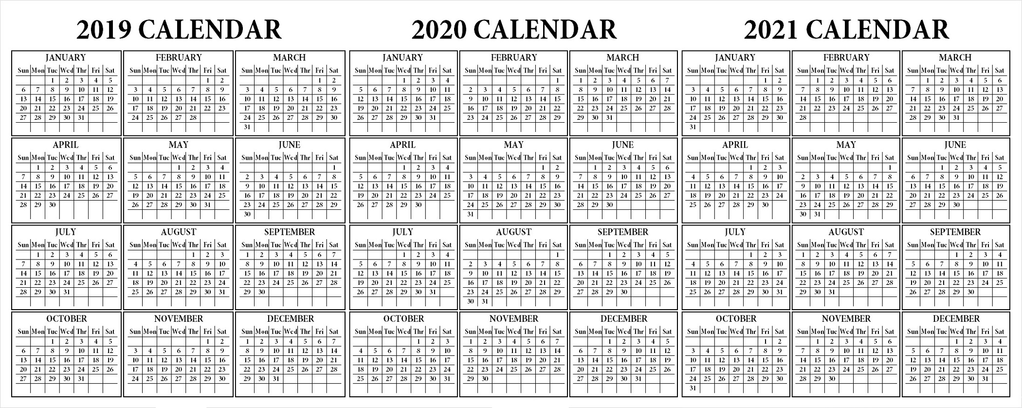 3 Year Calendar Printable 2019 2020 2021 For All Ages For Desk