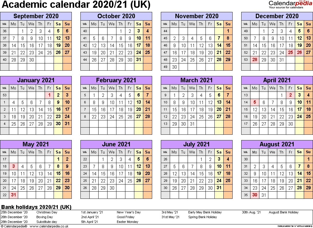 Academic Calendars 2020/2021 As Free Printable Excel Templates