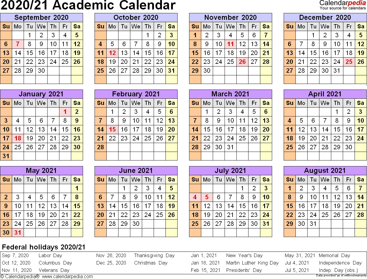 Academic Calendars 2020/2021 – Free Printable Excel Templates