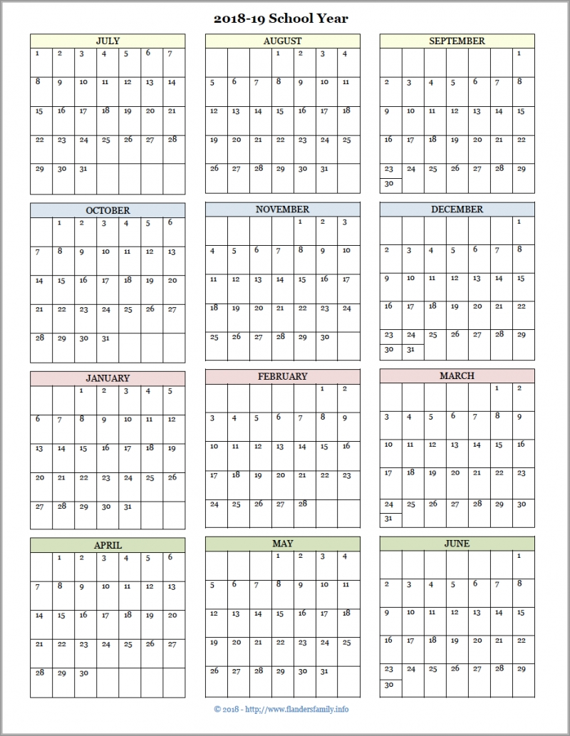 Year At A Glance Calendar 2021 Printable Free For Homeschooling Students