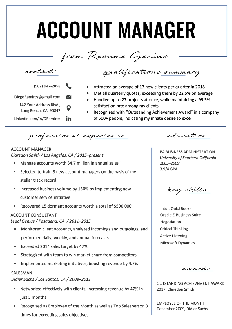 Accounting Manager Resume Templates