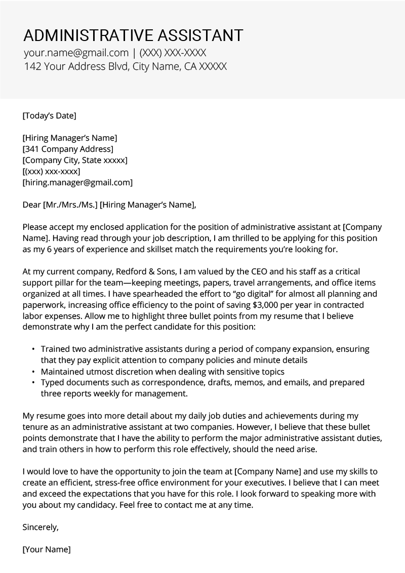 Assistant Resume Cover Letter