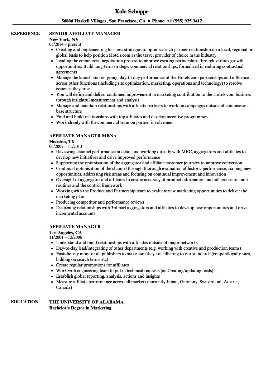 Affiliate Manager Resume Samples | Velvet Jobs