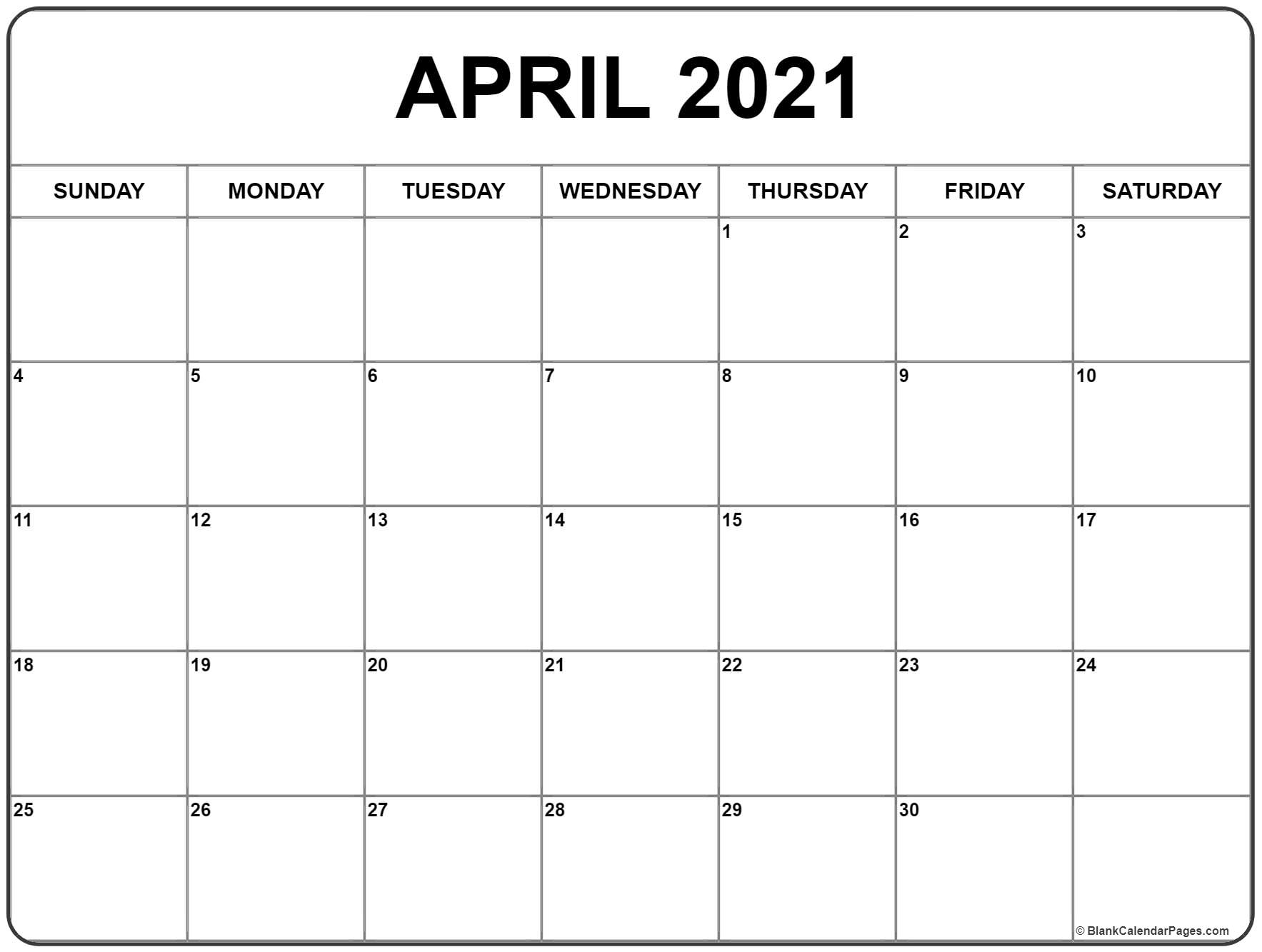 2021 Monthly Calendar With Holidays April