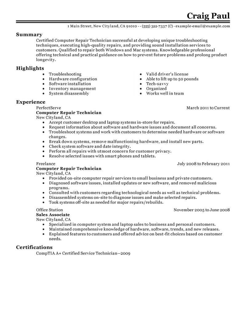 Best Computer Repair Technician Resume Example | Livecareer
