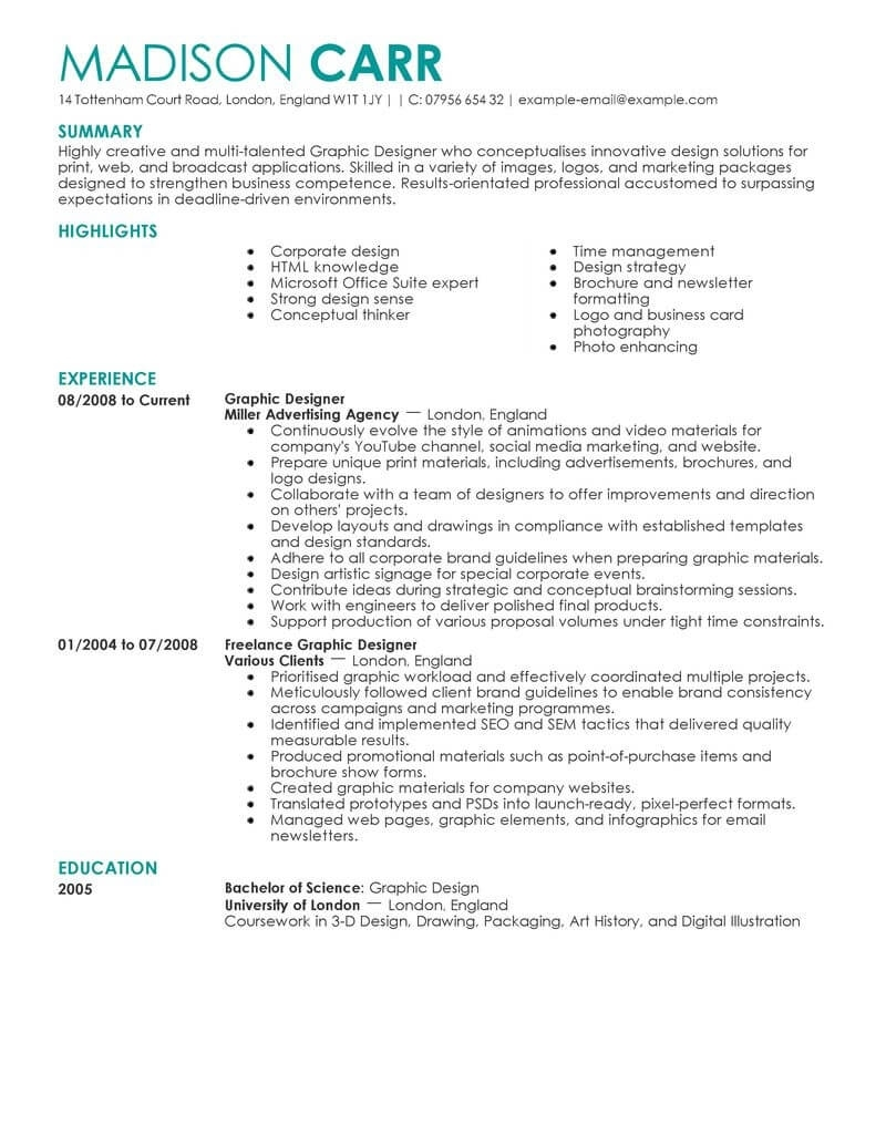 Graphic Designer Job Description Resume