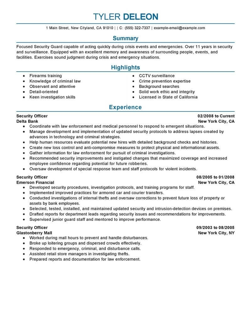Security Officer Resume