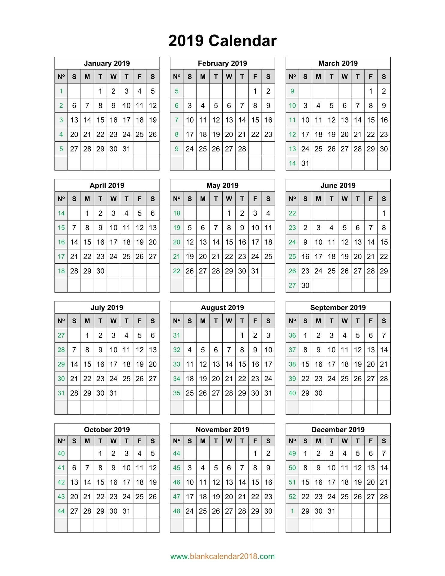 Blank Yearly Calendar 2019 Free For Download
