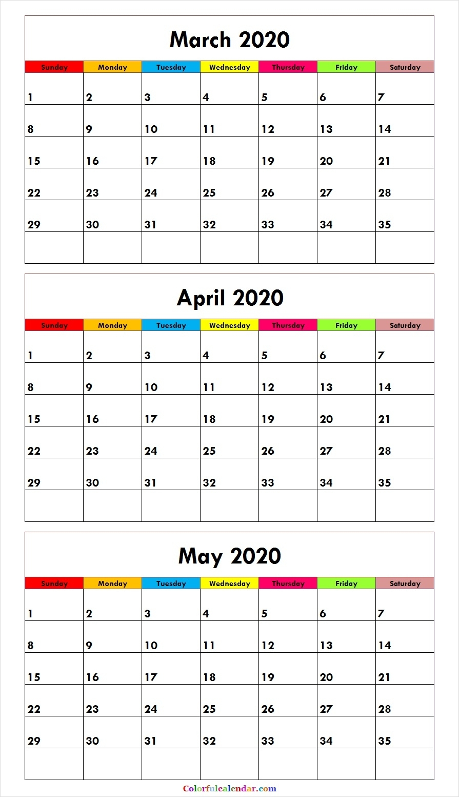 3 Month Calendar March April May 2020