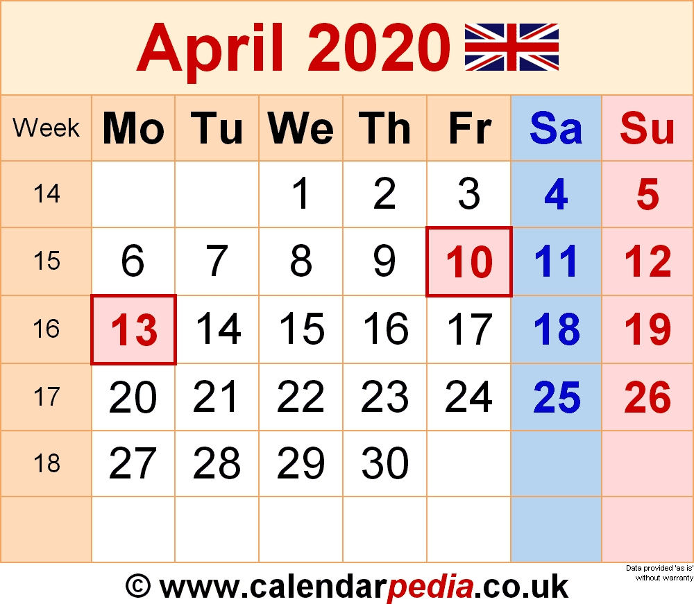 March April 2020 Calendar Uk