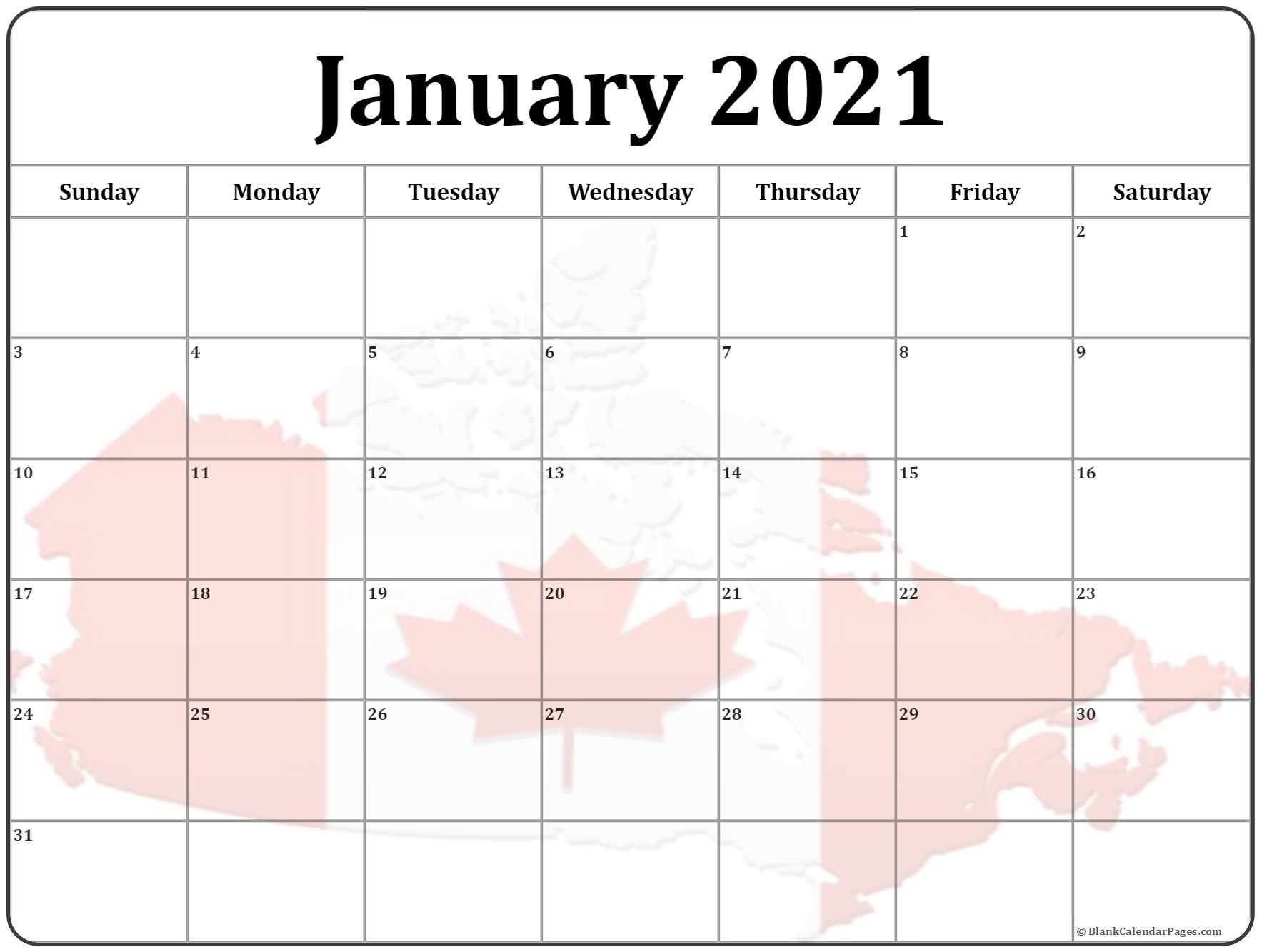 Monthly Calendar 2021 Canada For Visitors