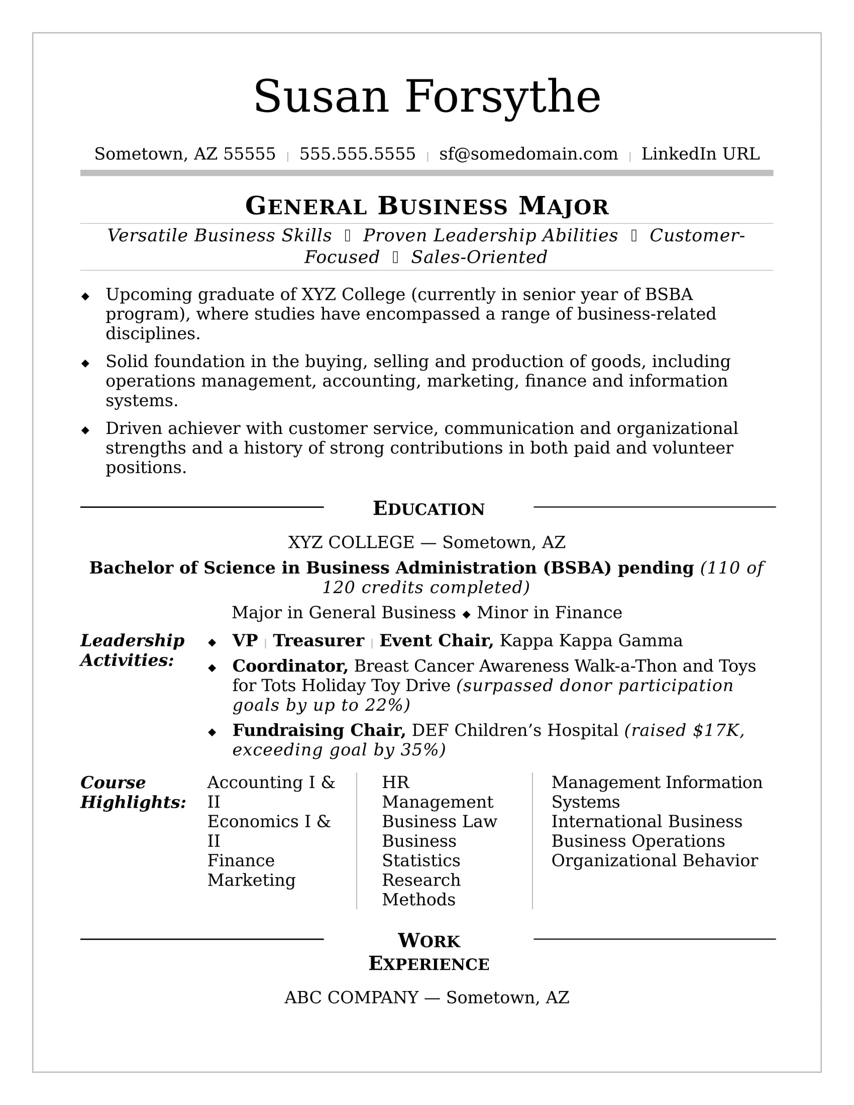 Sample Resumes For College Student And Graduate