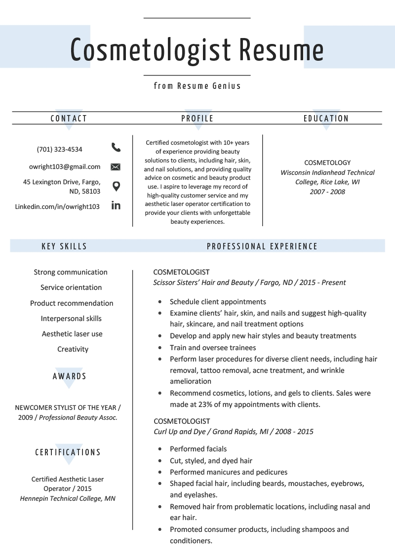 Cosmetology Resume Skills Example