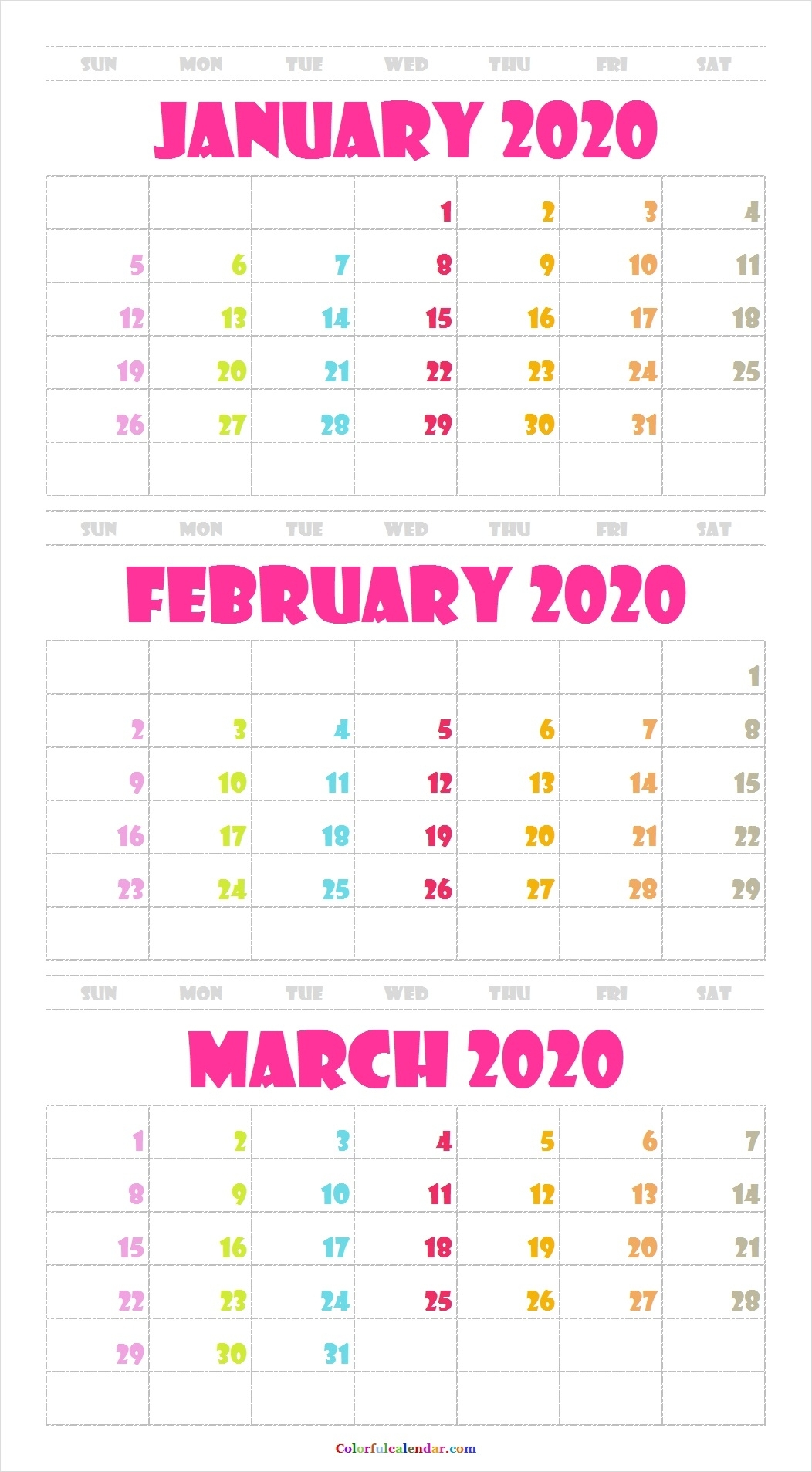 3 Month Calendar January February March 2020