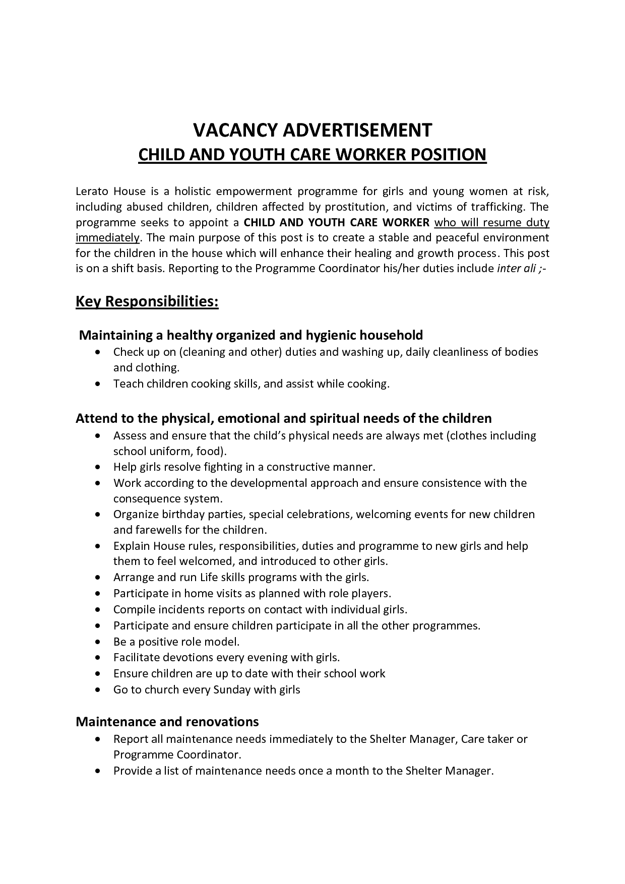 Daycare Worker Resume | Free Excel Templates