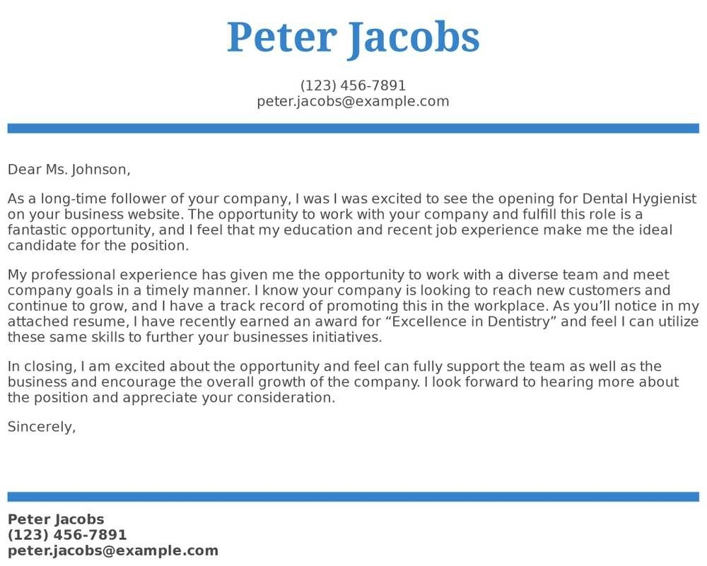 Dental Hygienist Cover Letter Examples, Samples & Templates