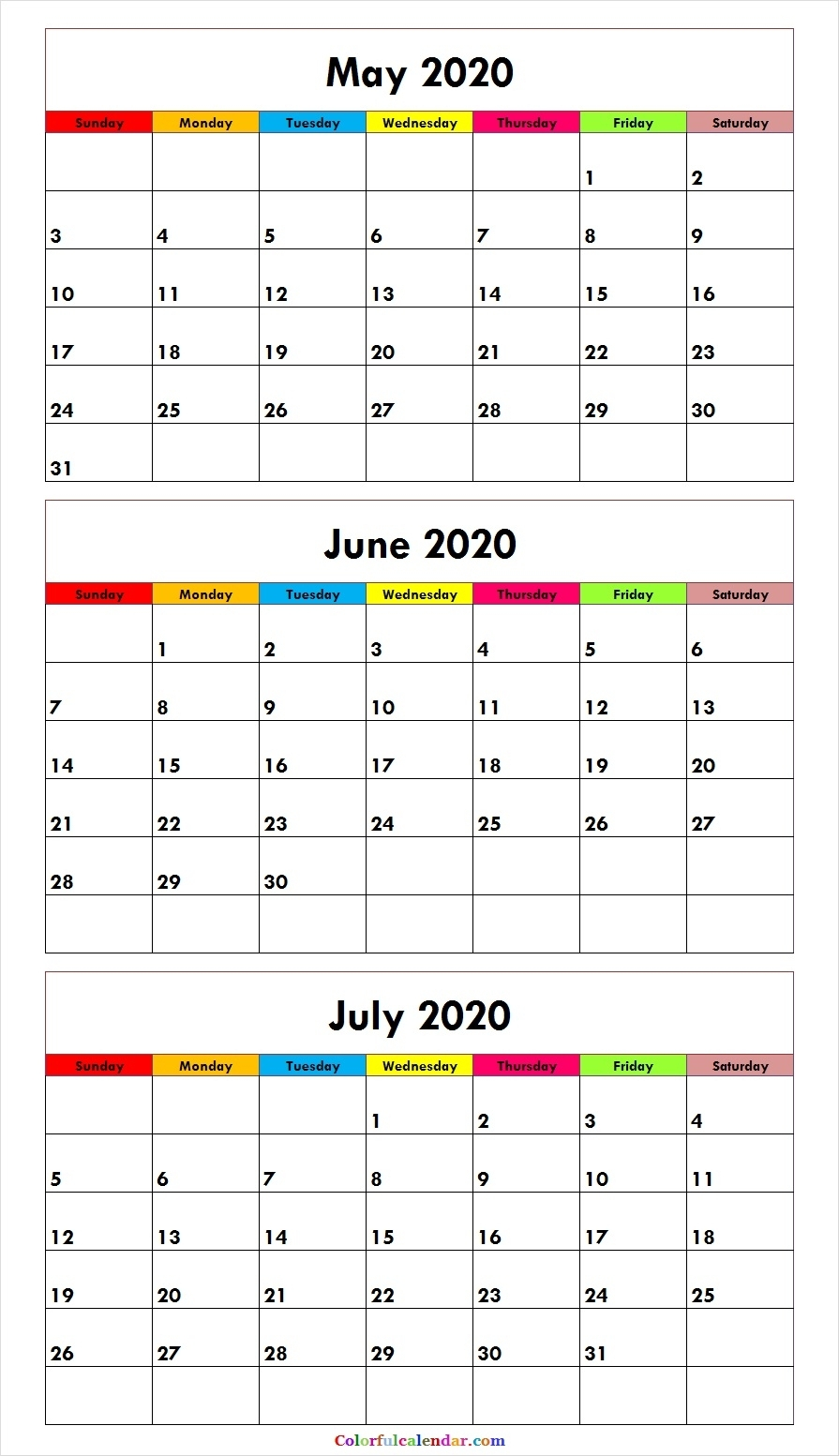 May To July Three Month 2020 Calendar