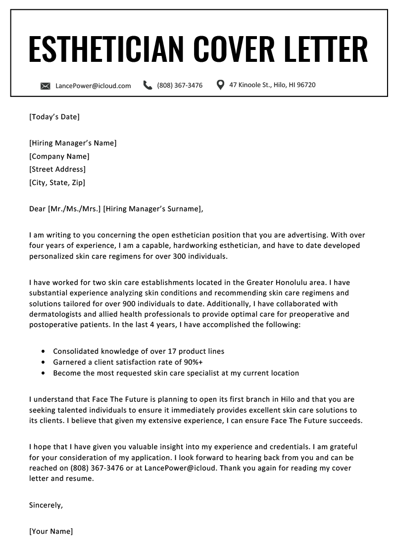 Free Sample Cover Letter For Resume