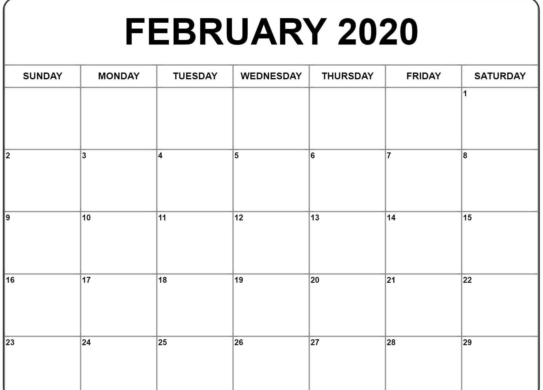 February And March 2020 Calendar Word