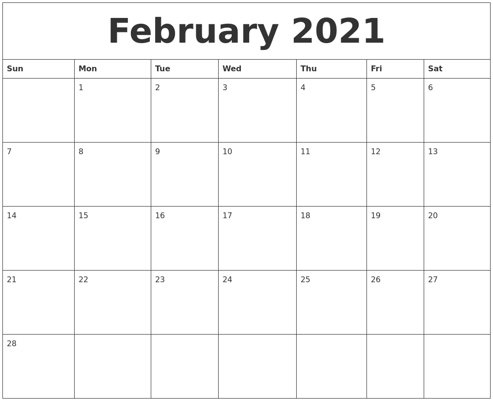 Free Printable Monthly Calendar 2021 Monthly