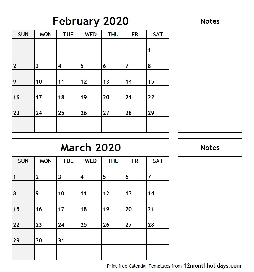 February-March-2020-Printable-Calendar – All 12 Month