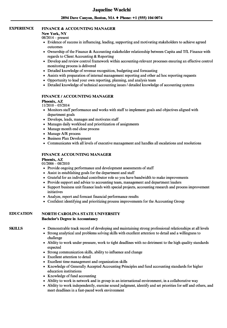 Example Accounting Manager Resume