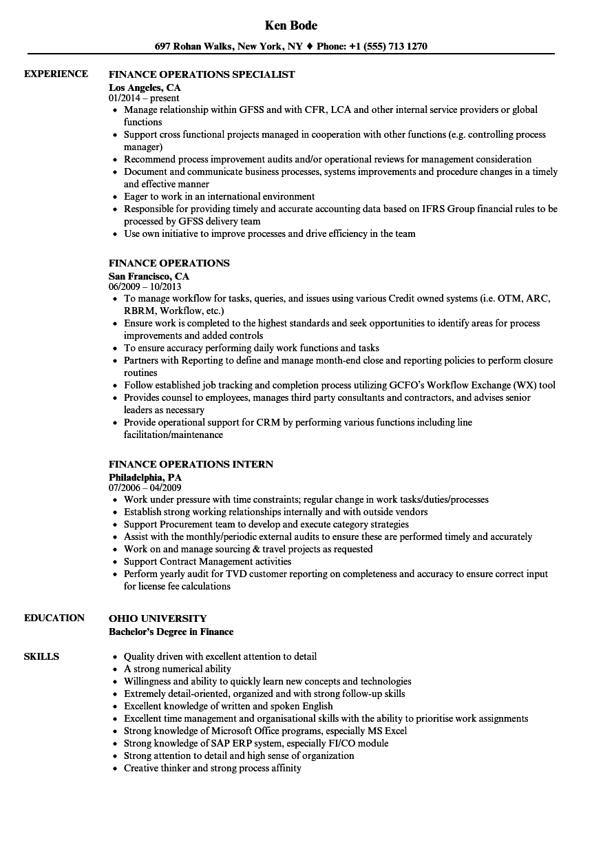 Financial Services Operation Professional Resume