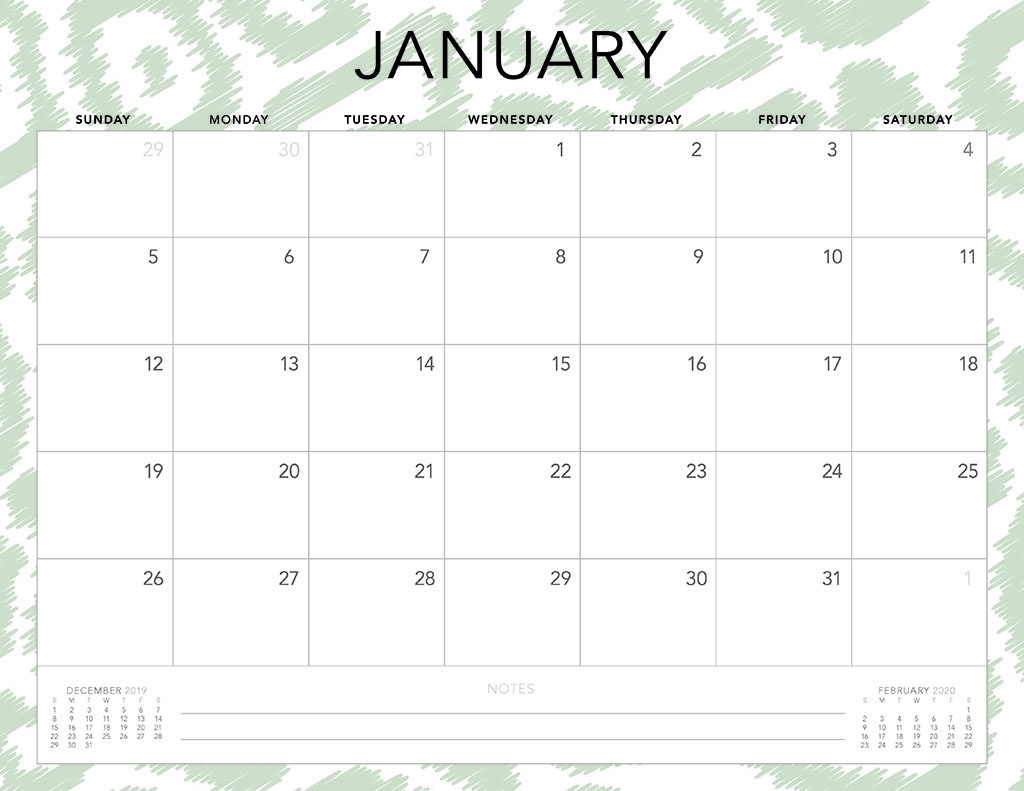 2020 Monthly Calendar Printable For Free Usage For Desk
