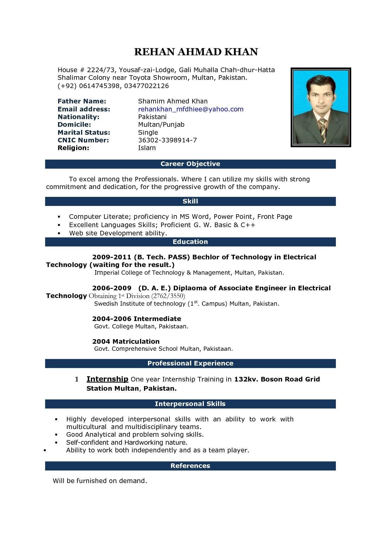 Job Resume Format Download Microsoft Word