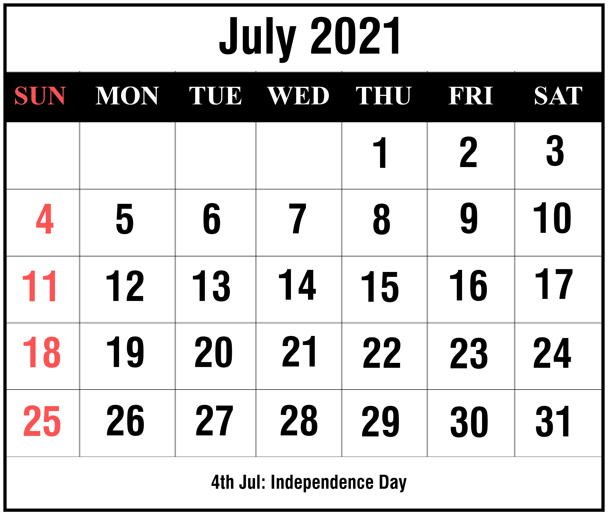 Free Editable Calendar 2021 July For All Users