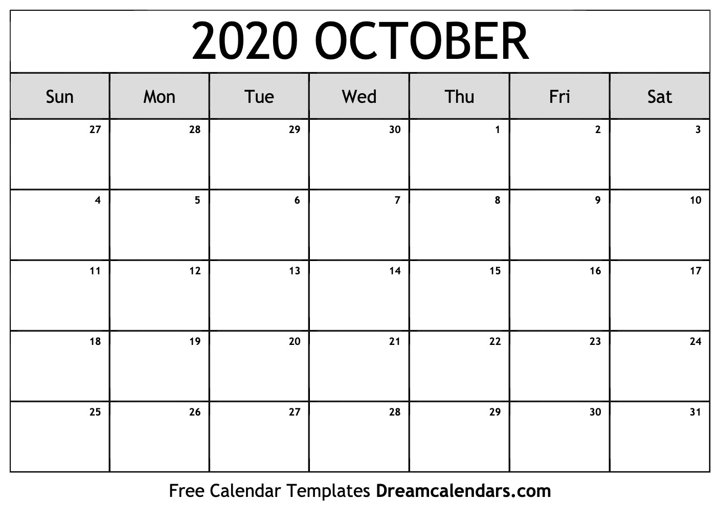 Student Calendar October 2020 Printable Free