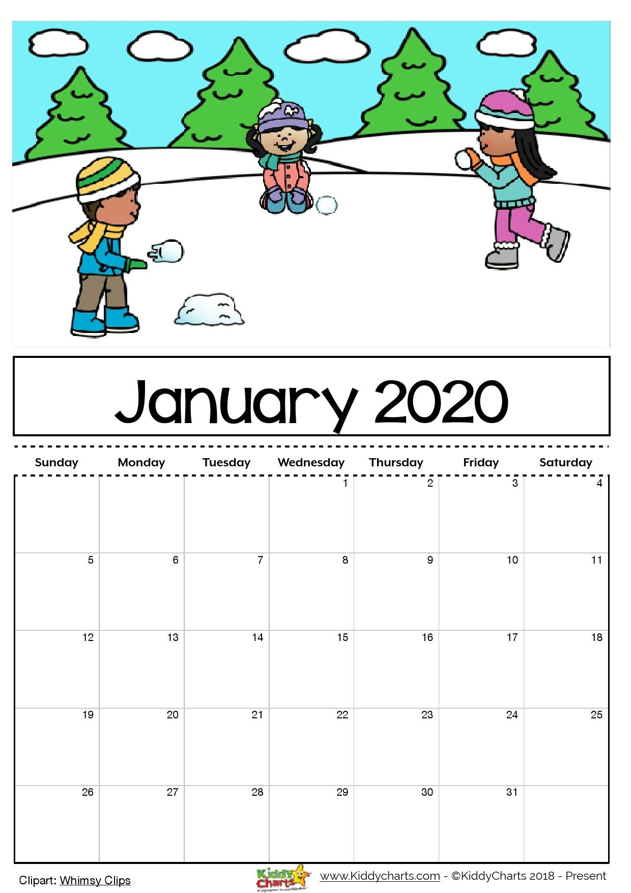 Free Blank Calendar 2020 For Kids Editable
