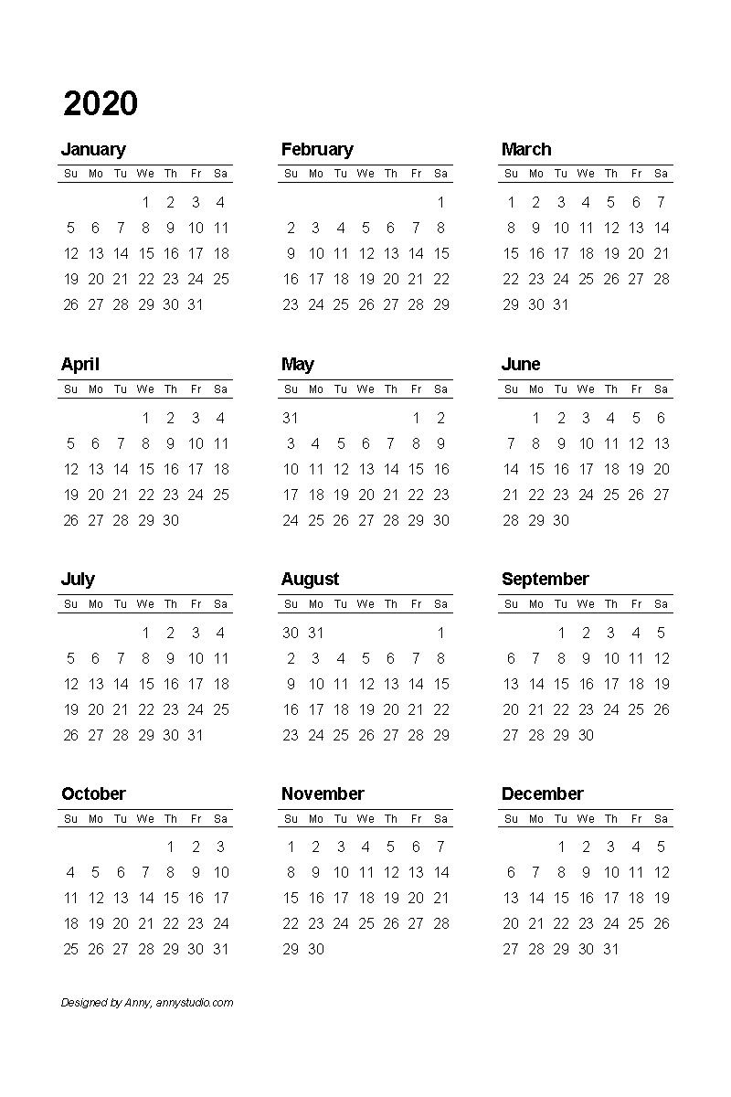 Yearly Calendar Template 2021 Free For Colouring Your Day