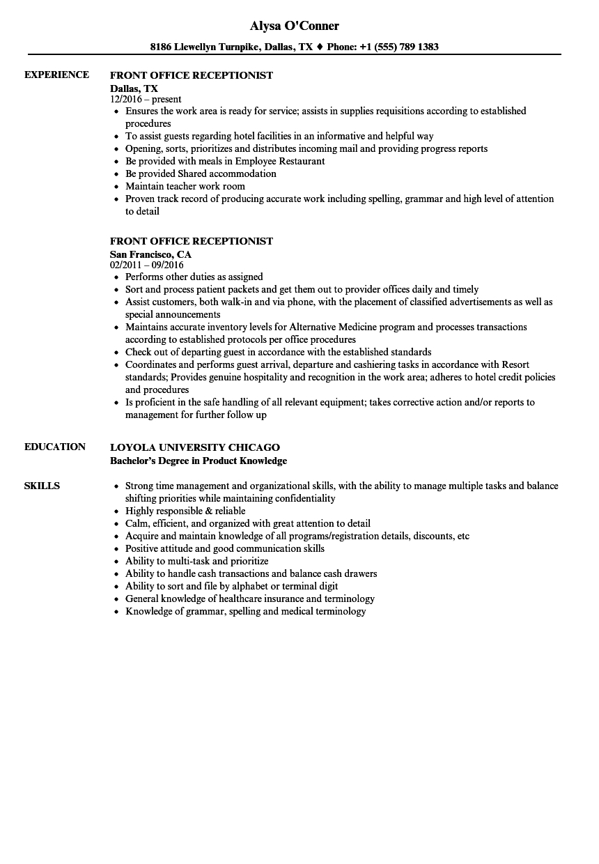 Front Desk Clerk Resume Examples