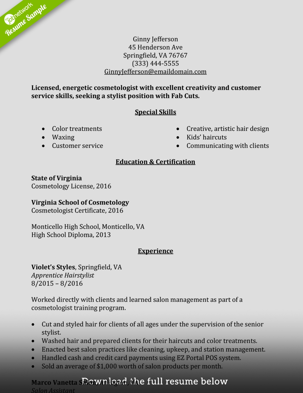 Cosmetology Resume Objective Statement Example