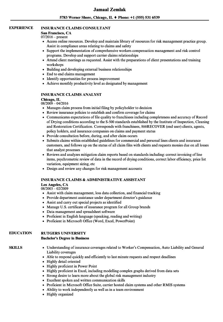 Insurance Claims Clerk Work Resume Sample