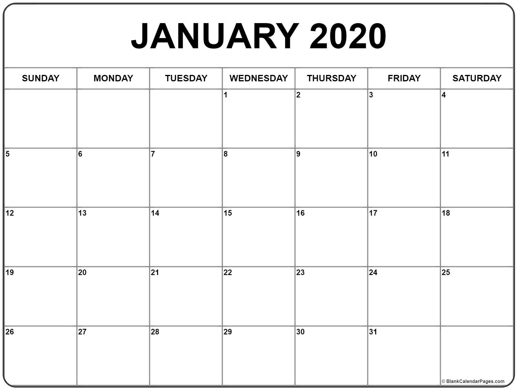 Printable One Month Calendar 2020 Blank For Schedule