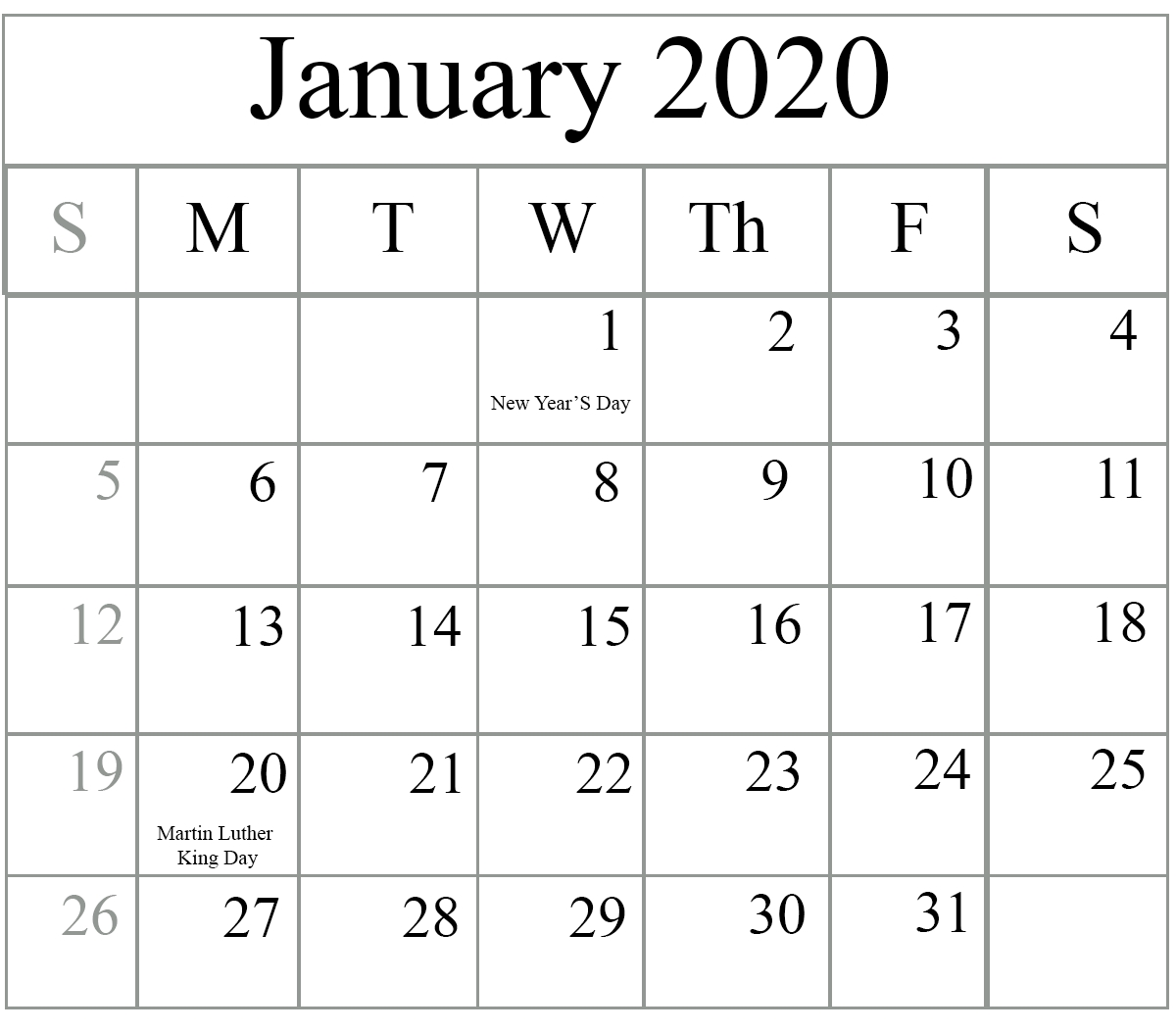 January February Printable Calendar 2020 With Holidays