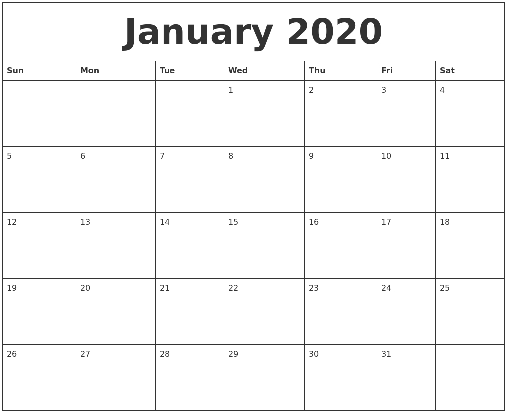 Large Monthly Calendar Printable 2020 With Notes