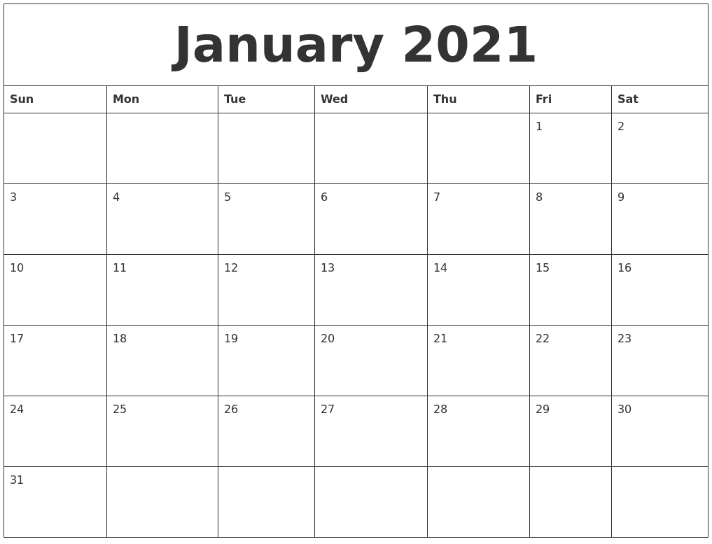 Monthly Calendar Print Out 2021 Blank