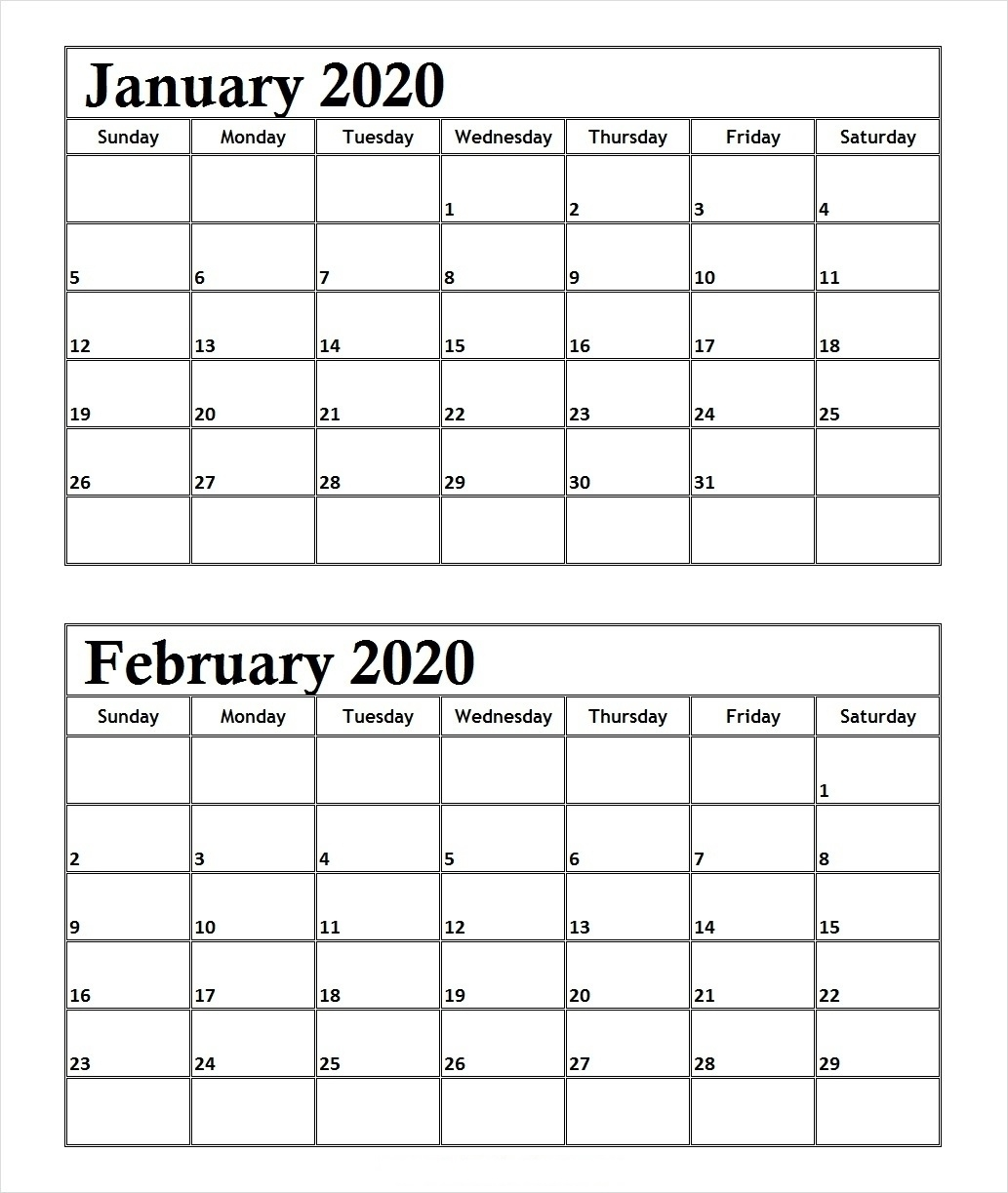January February 2020 Calendar With Notes