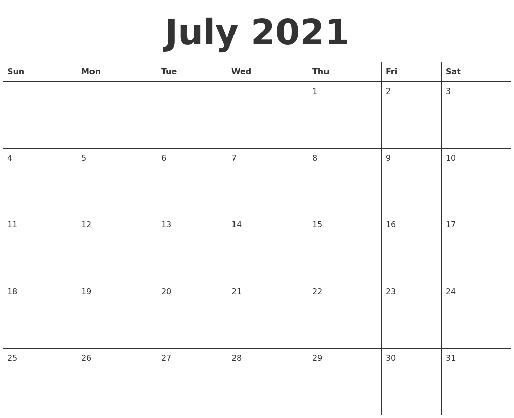 Printable Monthly Calendar Template 2021 Blank