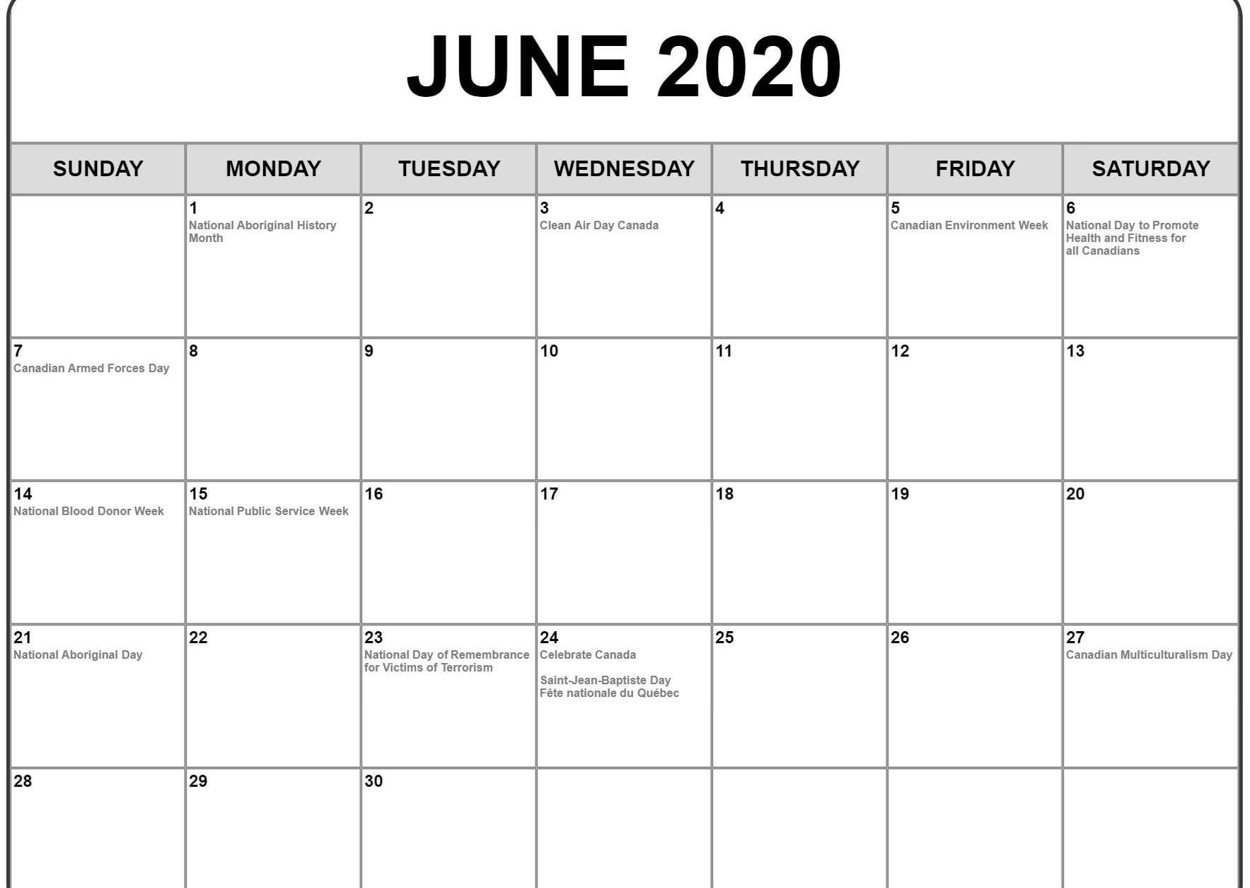 June 2020 Calendar With Holidays | Monthly Calendar Template