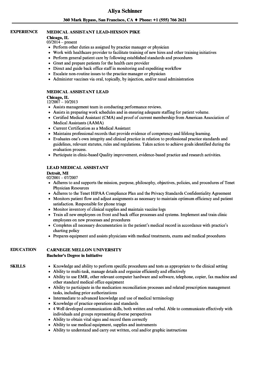 Lead Medical Assistant Resume Samples | Velvet Jobs