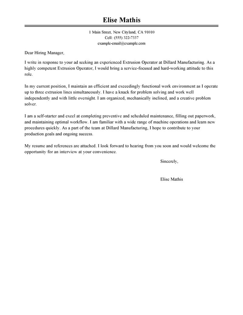 Sample Of Operations Production Cover Letter