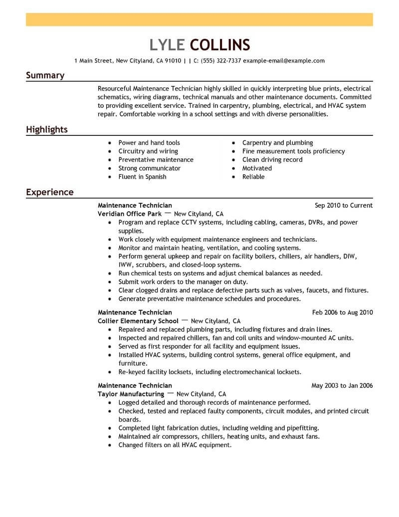 Maintenance Resume Sample Free